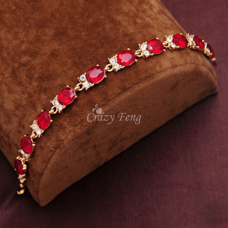 Женщины / леди в 18 k желтое золото заполненные 3 цвета CZ камни австрийские кристалл браслеты и браслеты ювелирные изделия