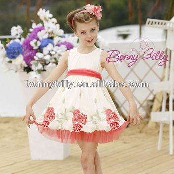 Meisjes Kinderkleding.Quinceanera Jurken Kleine Meisjes Geborduurde Bloemen Katoenen