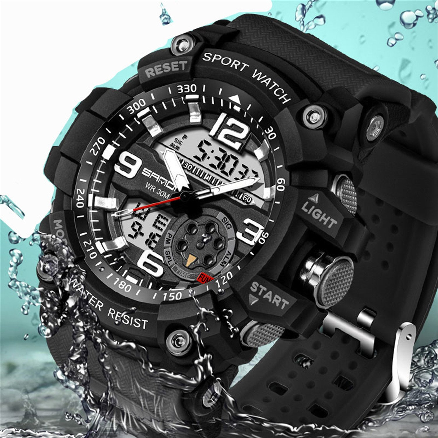 1ad9b5fce08 Get Quotations · Wdnba Mens Watch Quartz Watch Military Watch Analog Digtal Wrist  Watch Men s Sport LED Dive Watches