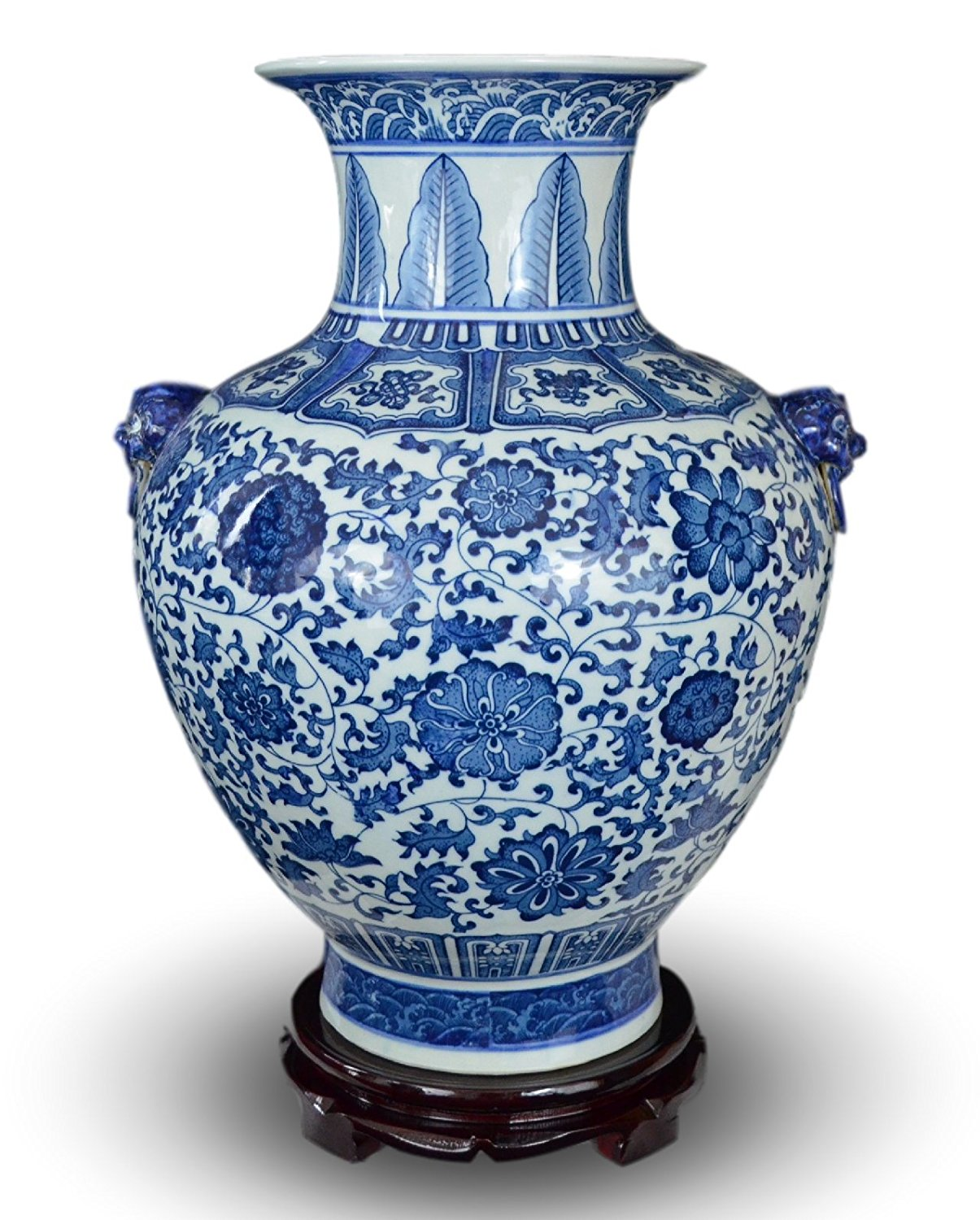 "18"" Classic Blue and White Floral Porcelain Vase, Double Lion Head Handles China Ming Style, Free Wood Base"