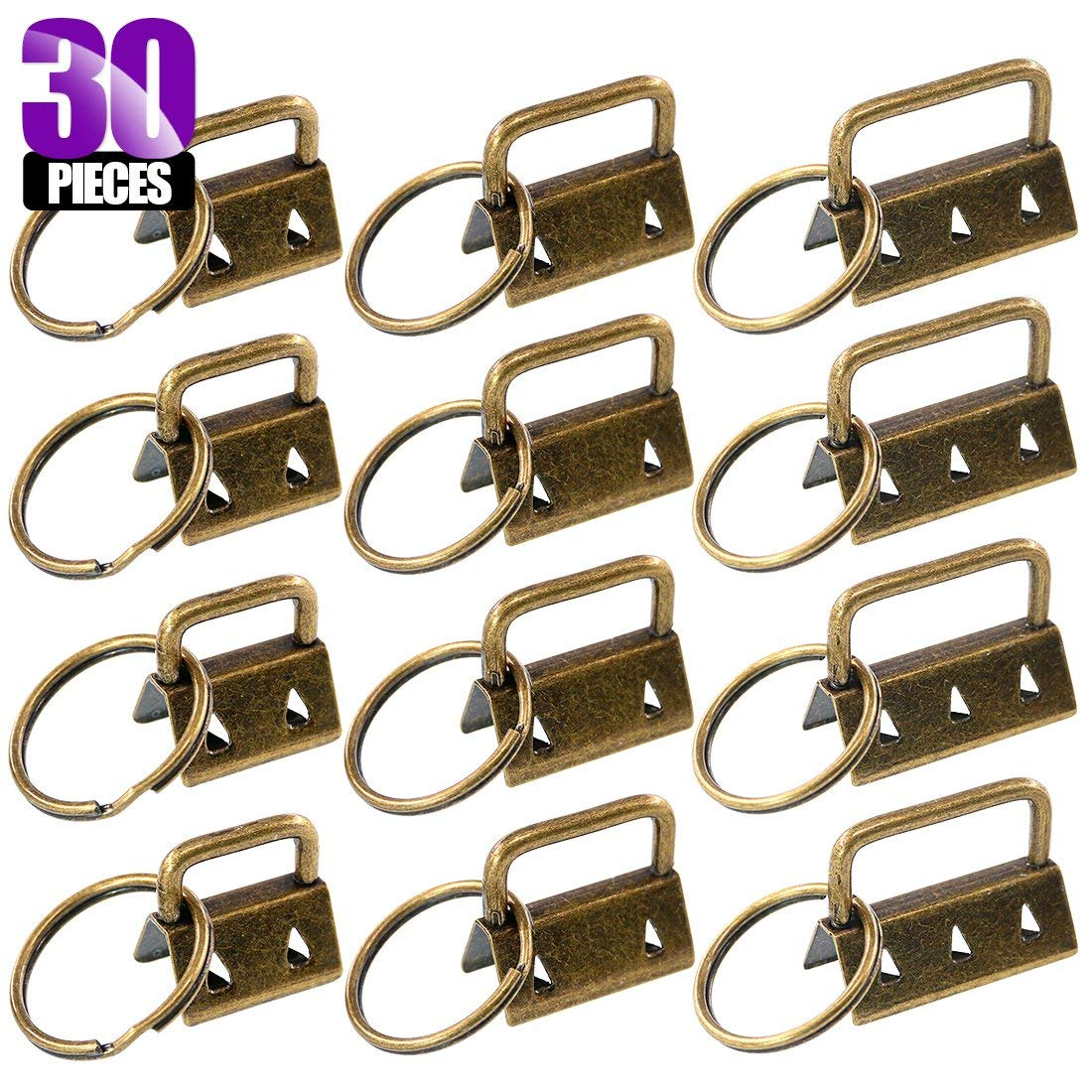 Swpeet 30Pcs Bronze 3 Sizes Key Fob Hardware with Key Rings Sets, Perfect for Bag Wristlets with Fabric/Ribbon / Webbing/Embossed and Other Hand Craft - 4/5Inch,1Inch, 5/4Inch
