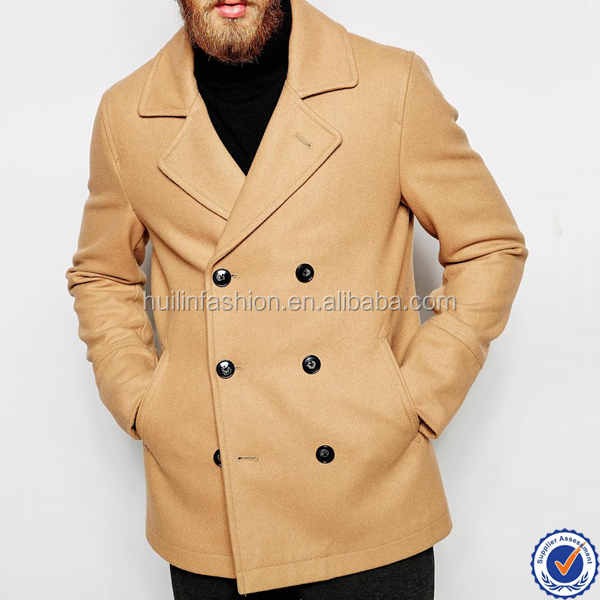 man european french fashion winter coats wool double breasted coat in camel