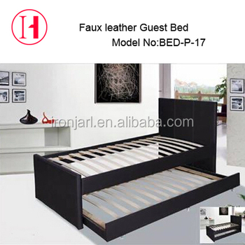 Double Layer Saving Space Faux Leather Single Bed Guest Bed Buy Faux Leather Bedguest Bedleather Bed Product On Alibabacom
