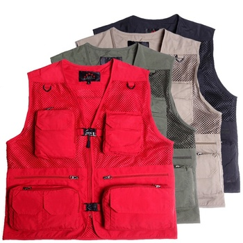 Custom outdoor wholesale work multi pocket waistcoat for men