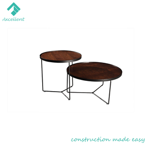 Hot sale modern stainless steel base round coffee table set home furniture