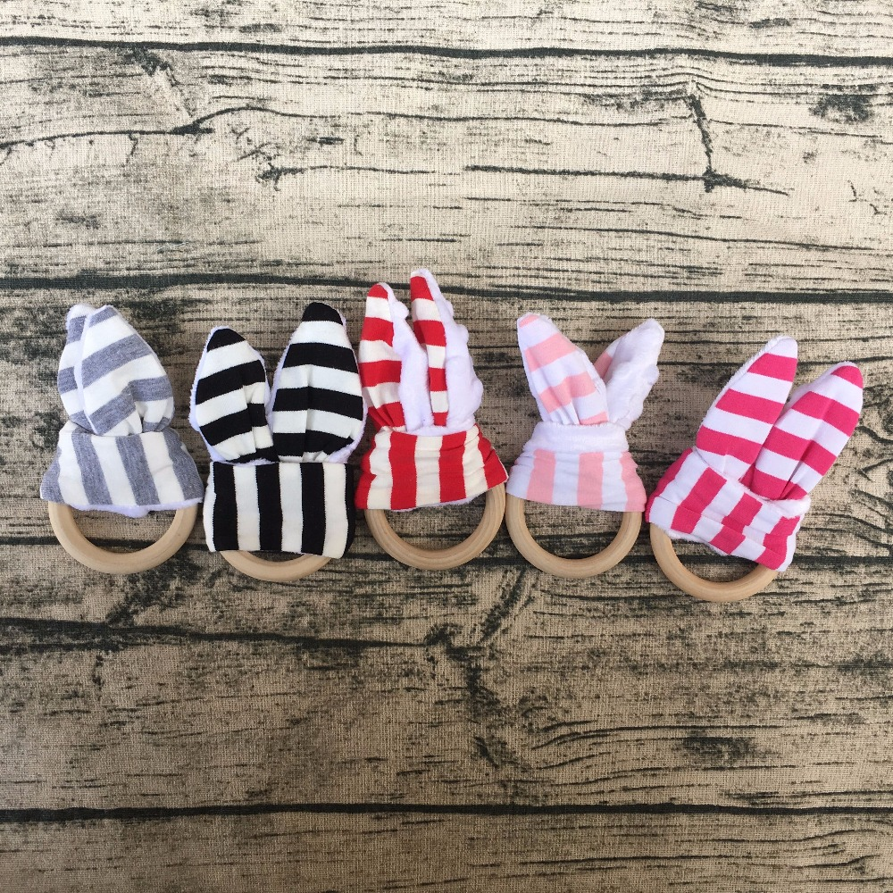 easter rabbit bunny ear gift Best cotton minky teething toys/Baby teething ring/Wooden Teething rings for babies Wood ring