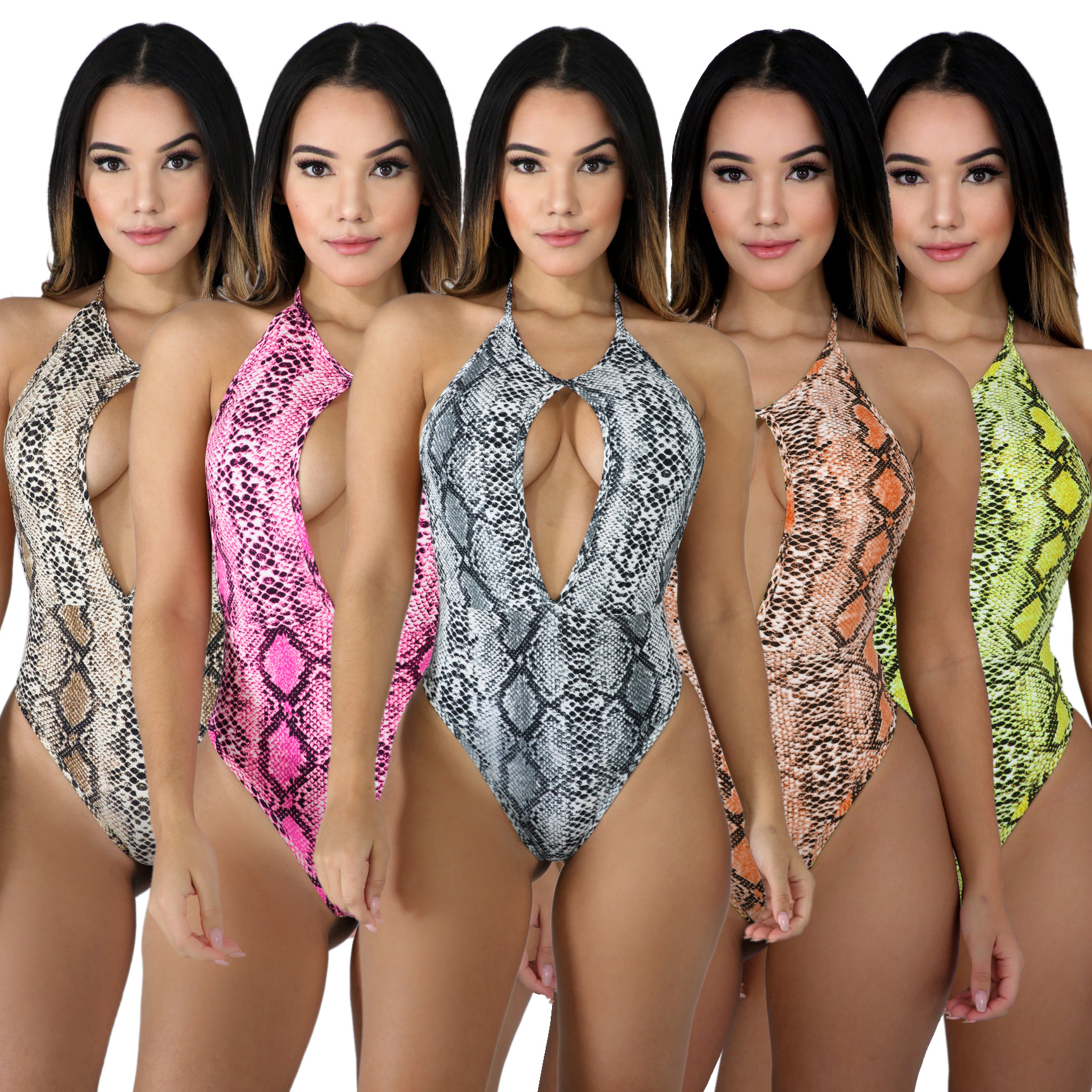 <strong>women</strong> fashion snake skin cleavage <strong>bodysuit</strong> OB3265