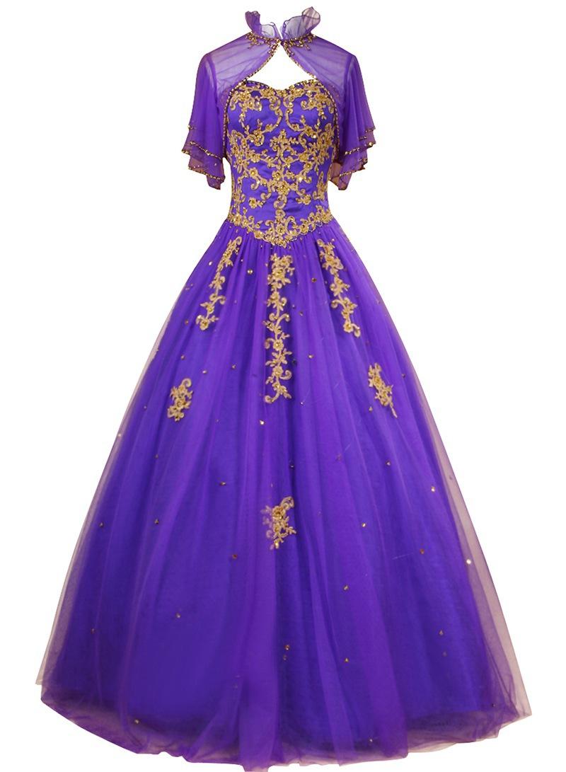 Get Quotations · Vestido De 15 Anos De Debutante Gold Lace Purple Quinceanera  Dresses Ball Gowns Sweet 16 Dresses 0cfb3ac188f3