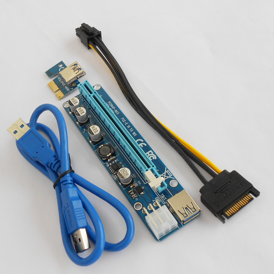 New upgrade VER008C 6pin PCI riser adapter card with USB cable PCI-E express X1 X16 with LED indicator