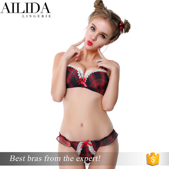75e48b46ae 2017 High Quality Bra And Panty Sets Red Bra And Panty Sets Sexy Hot Ladies  Plaid Bra - Buy Plaid Ladies Bra