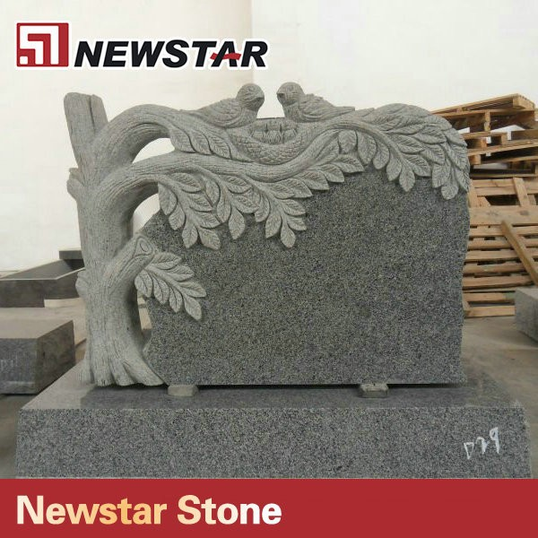 Newstar European Style Natural Granite Carved Tree Headstone