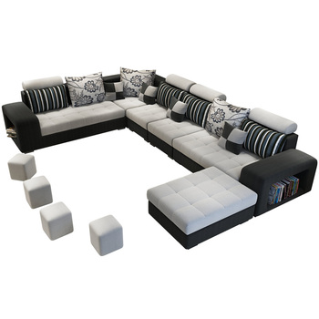 Modern simple design Large Size U-shaped fabric couch living room sofa set 7 seater corner Sofas Living+Room+Sofas