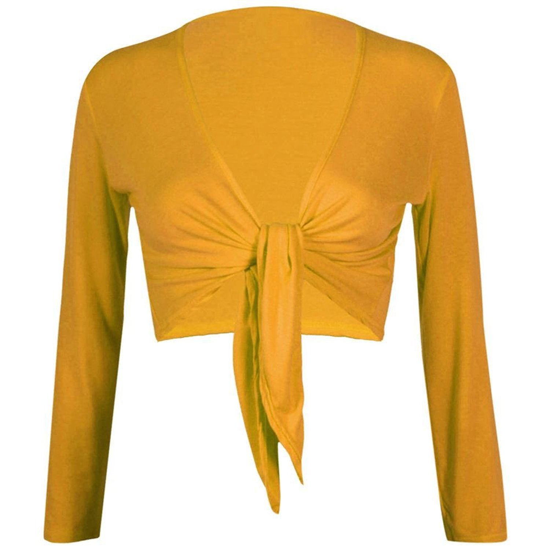 Janisramone Womens Plain Bolero Front Tie Shrug Cropped Long Sleeve Stretch Cardigan Top