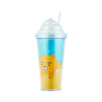 Lovely Character Tumbler Plastic Travel Cup With Straw for Kids