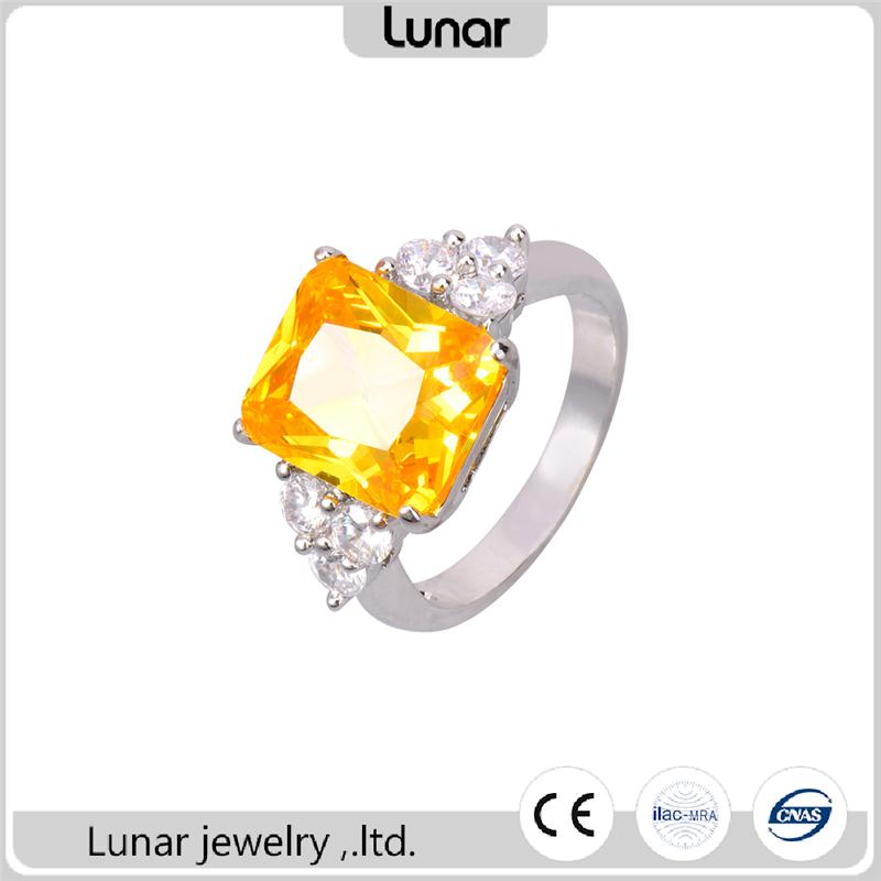 women emerald Cut yellow sapphire white golde plated wedding ring with fancy yellow diamond
