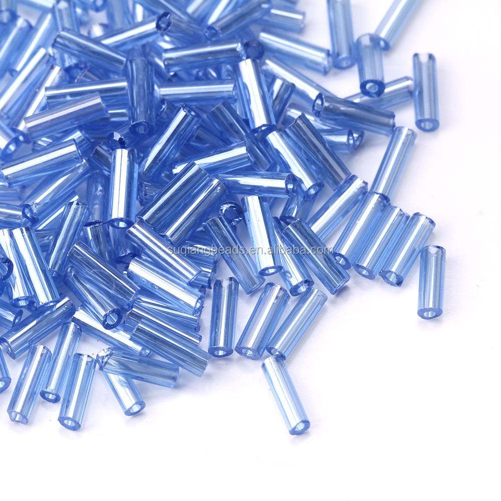Wholesale  Glass  bugle  beads  Trans colours lustered  Short Bugle Beads for Jewelry Making
