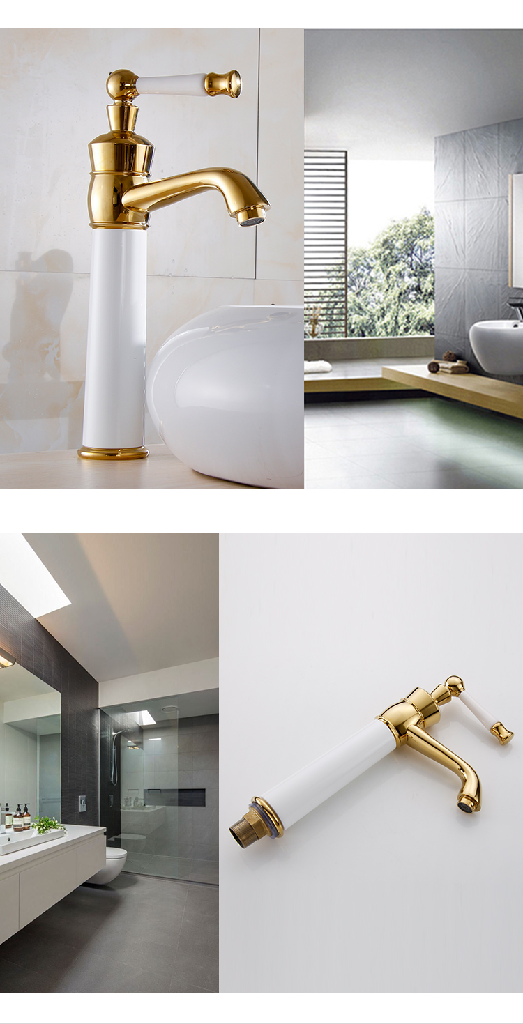 Single-lever basin faucet golden bathroom taps hot and cold water faucet