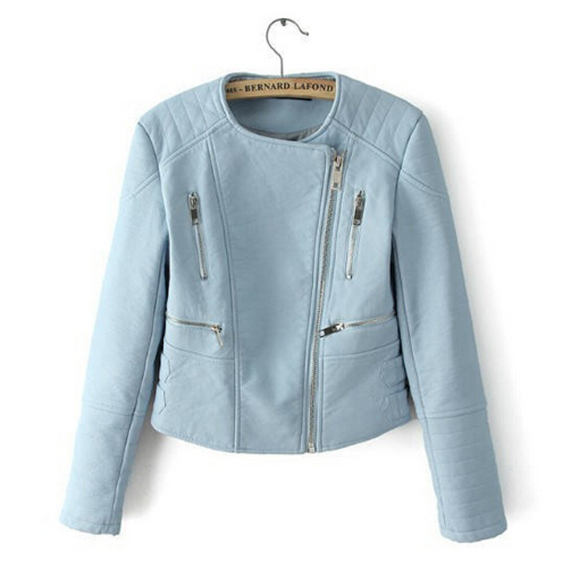 Blue leather jackets for women