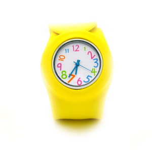 Colorful silicone band slap kids wrist watch with waterproof resistant