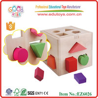 Hot Sale Educational Games And Puzzles Toys Wooden Geometric Shape Sorting Cube For Kindergarten