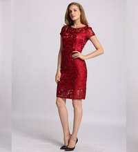fashion design chinese style red adult girls party lady dress