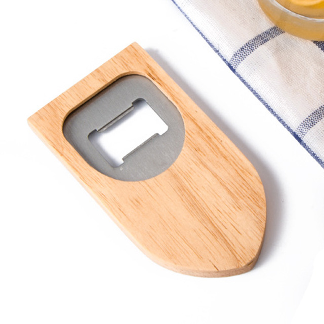 OEM custom eco beech shield-shaped wood beer bottle opener