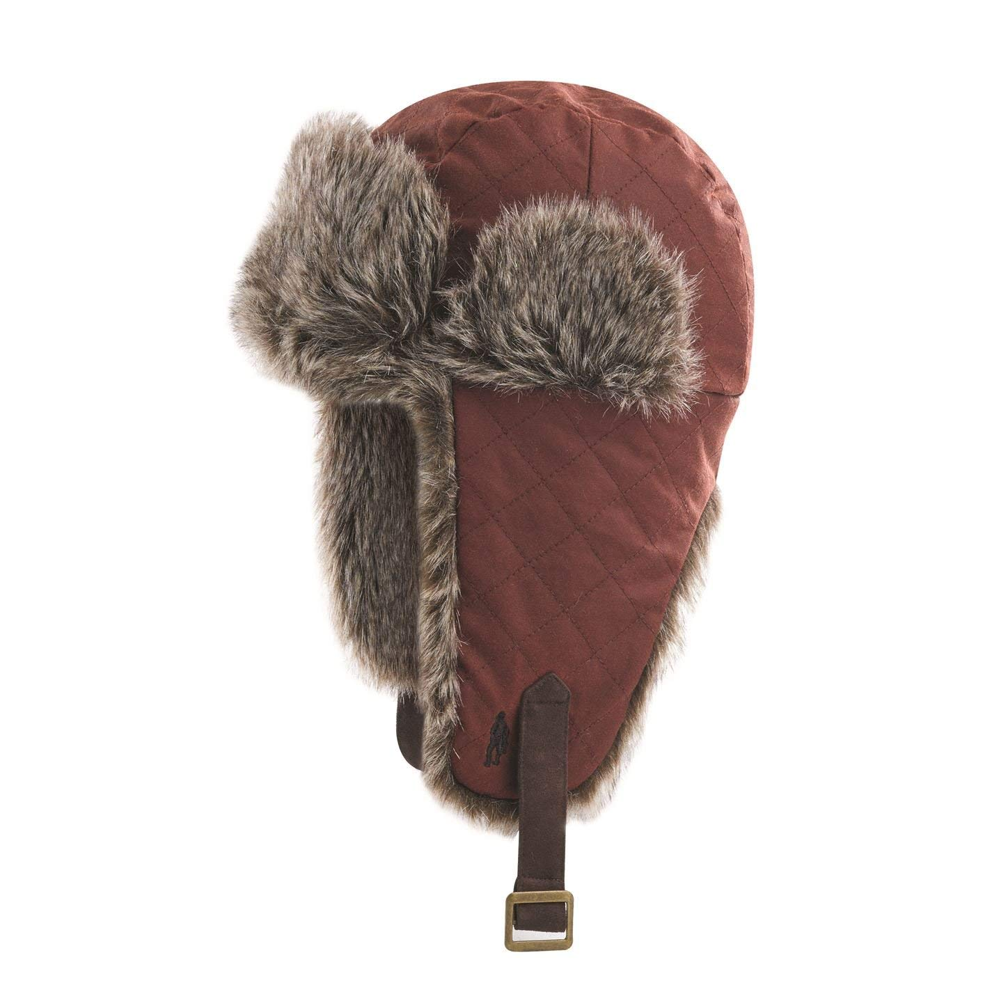 b42fb9bfad2 Get Quotations · Jack Murphy Mens Hurricane Fly Trapper Winter Hat Fur Trim Faux  Leather Strap