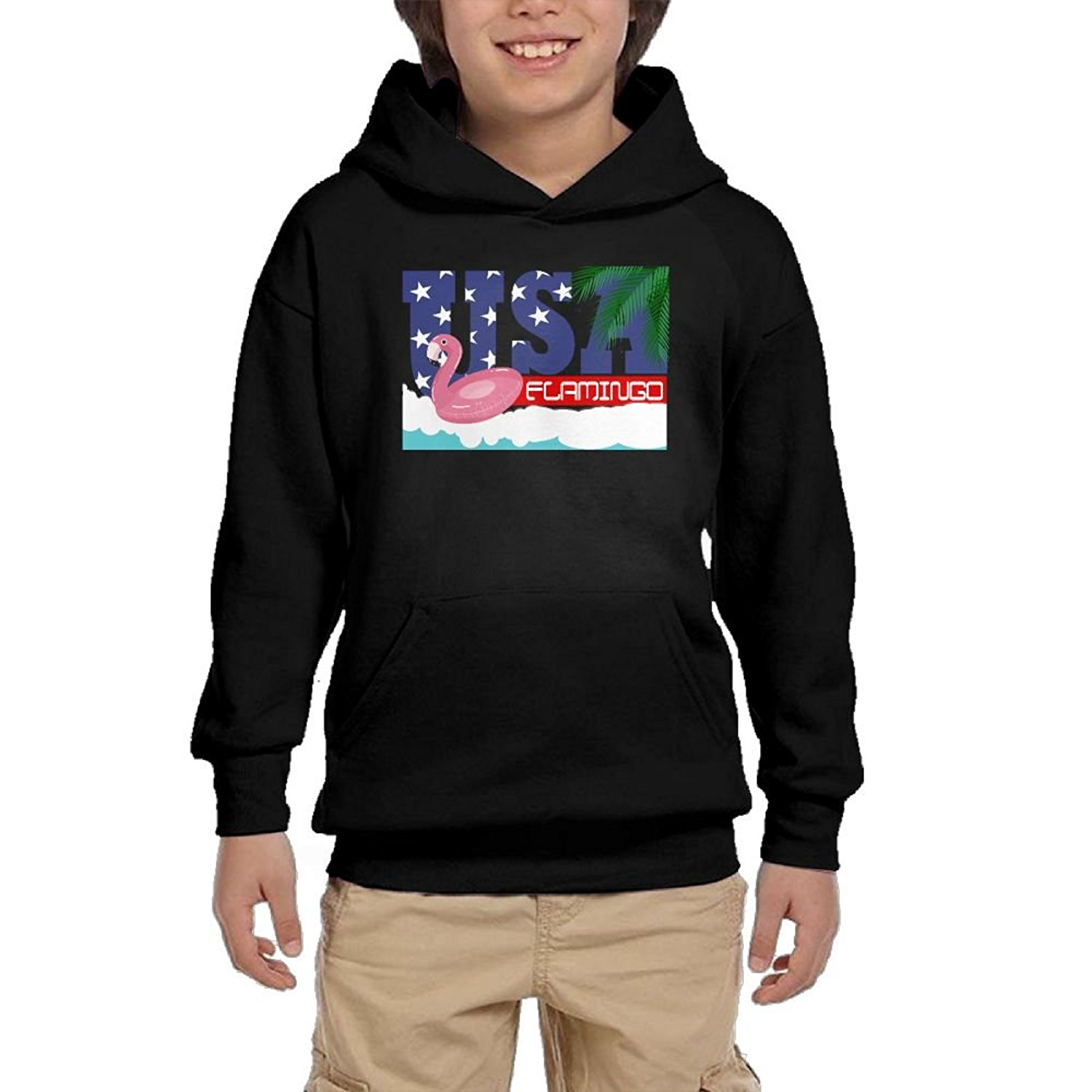 HUH HOODIES Frenchie Flamingo Pool Float Cartoon Youth Athletic Pullover Hoodies Casual Sweatshirts With Pocket