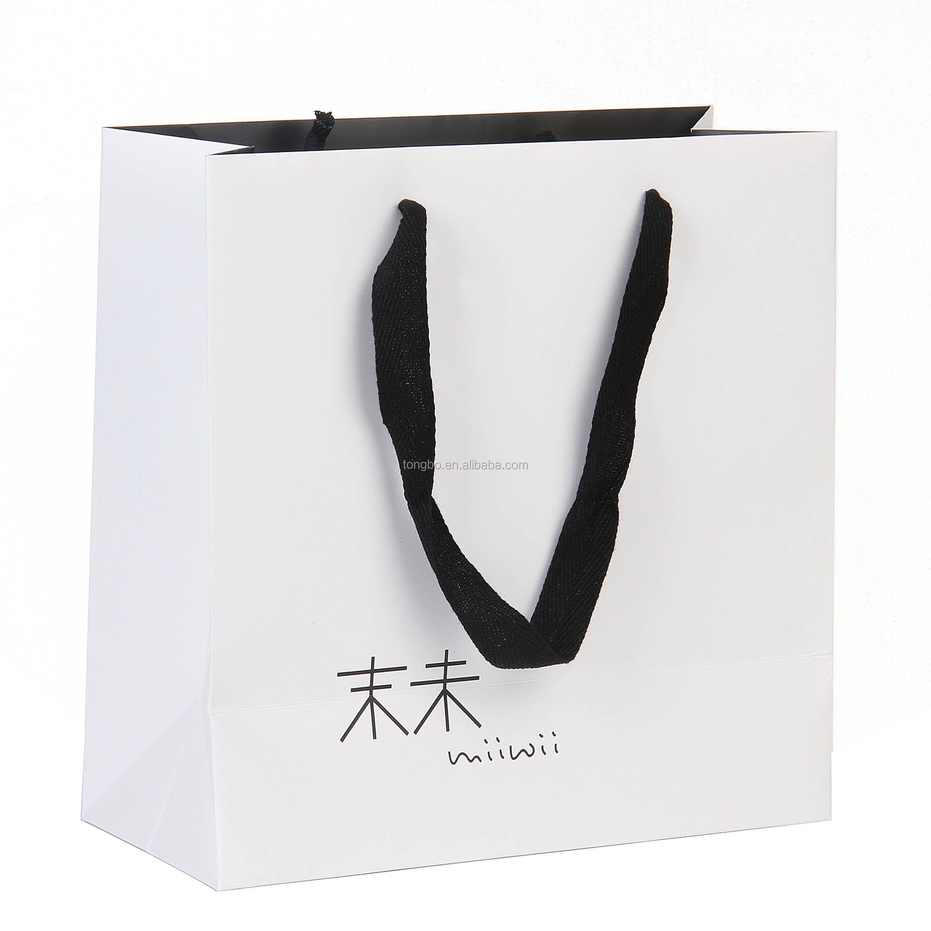 Black Handle White Art Paper Bag Fabric Handles Bag For Cloth ...