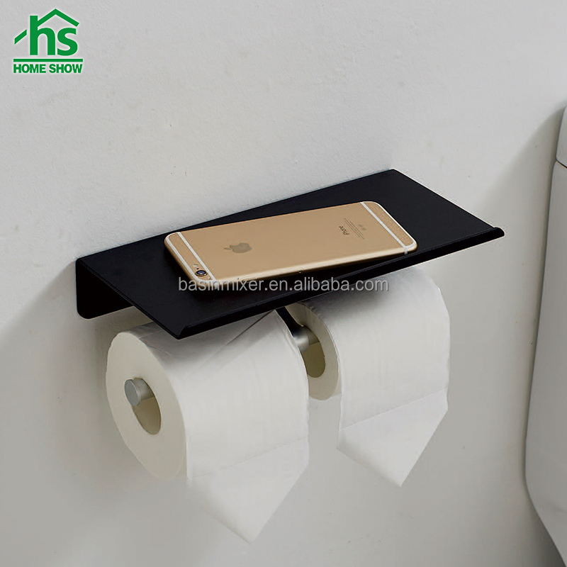 Fashion design aluminum double toilet roll paper holder with shelf for putting mobile phone