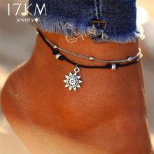 17KM винтажные многоярусные ножные браслеты для женщин, богемный ретро веревочный браслет на ногу черепахи, сексуальный пляжный браслет, цеп...(Китай)