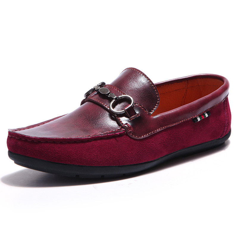 be1fd061192 Get Quotations · 2015 Summer Print Loafers Men Leather Men Red Flats Shoes  Red Leather Moccasins Men Genuine Leather