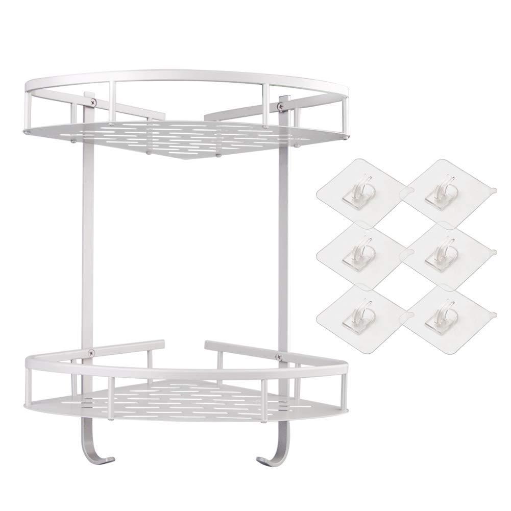 Shower Caddy Bathroom Shelf [ No Drilling ] Aluminum Corner Shower Storage Durable Shower Shelves Storage Shelf Adhesive Suction Corner Shelves 6PCS Sticker (2-Tier)