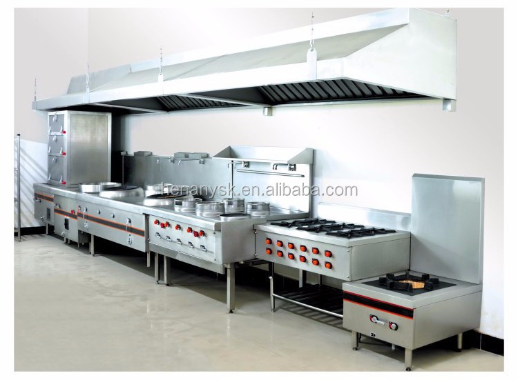 IS-GH-977 commercial Kitchen Equipment With cabinet 6 Burners Gas Cooking Range gas electric oven multifunctional cooker