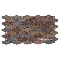 Glass Natural Red Slate Stone Octagon Mosaic Wall and Floor Tiles