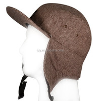 Design your own 5 panel wool baseball cap with ear flaps