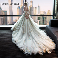 Newest U-Neck gorgeous lace luxury long sleeve wedding dress with long trailing