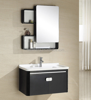 As 23052 Bathroom Furniture Black Vanity Cabinet Stainless Steel