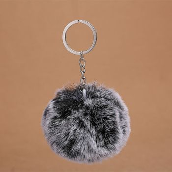 2018 Hot Sell  Fasion Simple Car Driving  Fur Ball Key Chain Jewelry For Women