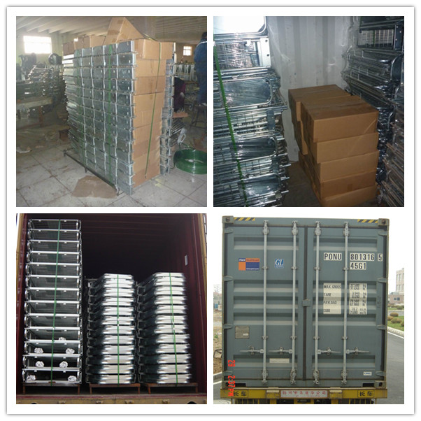 China supplier high quality foldable stacking welded transport warehouse security  steel rolling container