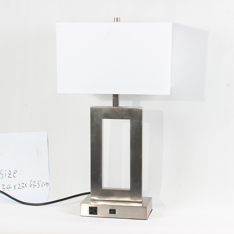 Metal Usb Outlet Power Switch Hotel Table Lamp With electric power outlet Round Fabric Shade For Bedside Desk