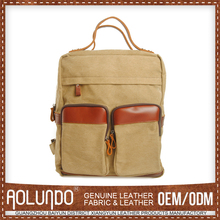 100% Cotton canvas with genuine leather rucksack backpack with tote handle
