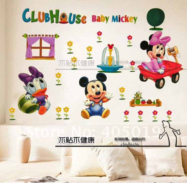 60x90cm hl6857 mickey mouse wall sticker cartoon minnie - Mickey mouse clubhouse bedroom decor ...