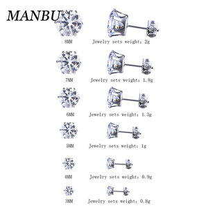 cubic zirconia earring 6 pair stud set jewelry for women 12312