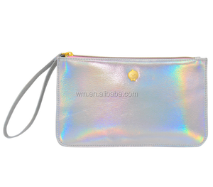 Hot sale pu leather holographic makeup bag cosmetic pouch