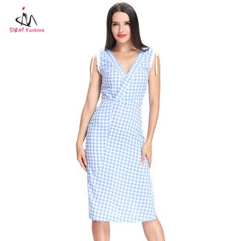 612e7a7dd75 Womens Grid Sexy Low Cut V Neck Wrap Dress Sleeveless Check vestido festa  Ladies Party Club