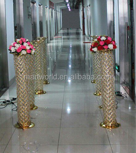 2018 New 40 Inches Golden Led Pillar With Changeable Color For Wedding Decorations Lighted Aisle Mws 002 Pillars