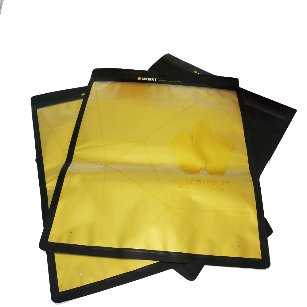 Hot stamping surface handling and custom printed front clear three side seal bags