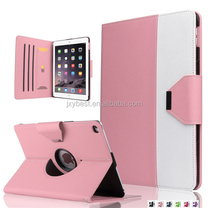Factory Custom 360 degree rotating Hit Color Cute Fashion Leather Stand flip Smart Cover Case for IPAD AIR 2 IPAD 6