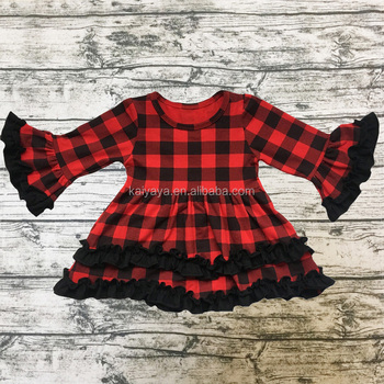 New Design Wholesale Children Boutique Christmas Clothing Baby Plaid Ruffle Bottom Top Girls Bell Sleeve Top